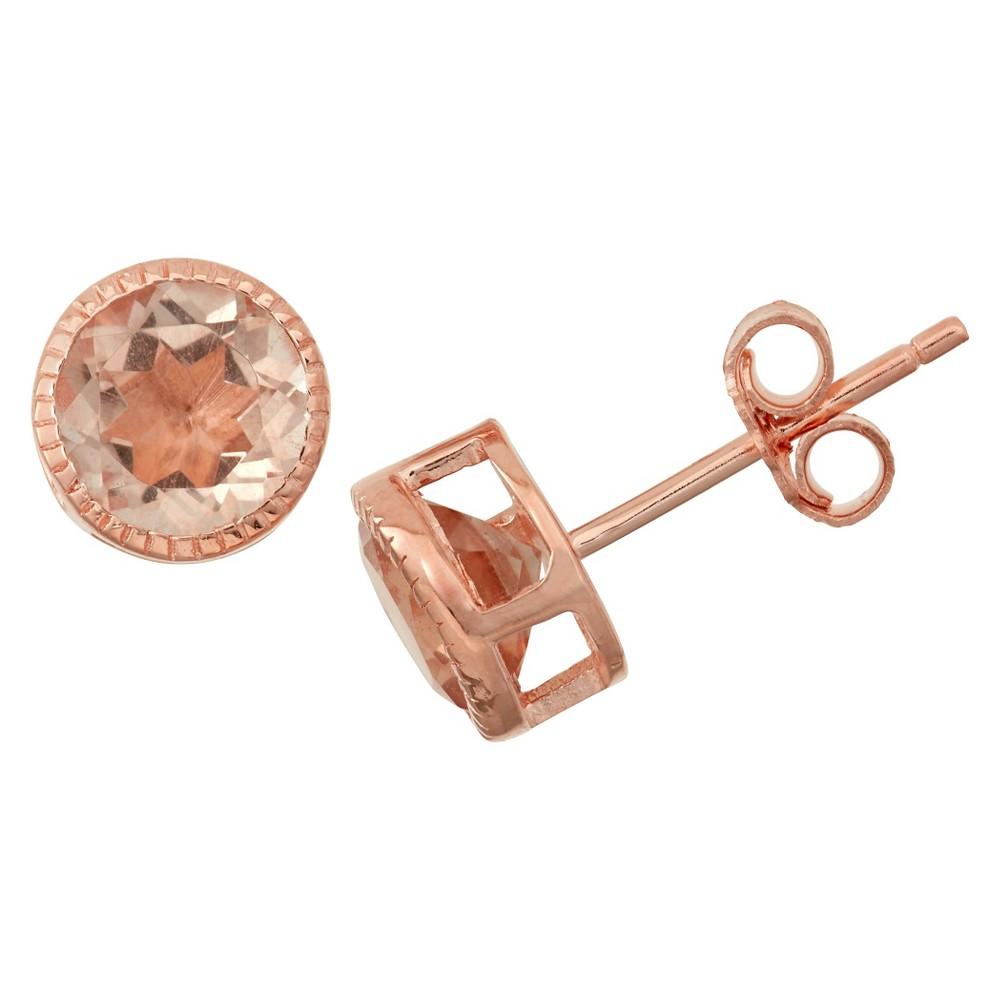 1 2/3 Tcw Tiara Rose Gold Over Silver 6mm Bezel-set Morganite Quartz Stud Earrings