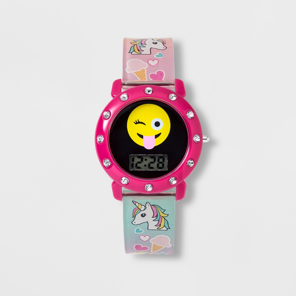 Image of Girls' Emoji Dial Lcd Watch - Pink, Multi-Colored