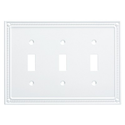 Classic Beaded Triple Switch Wall Plate Pure White - Franklin Brass