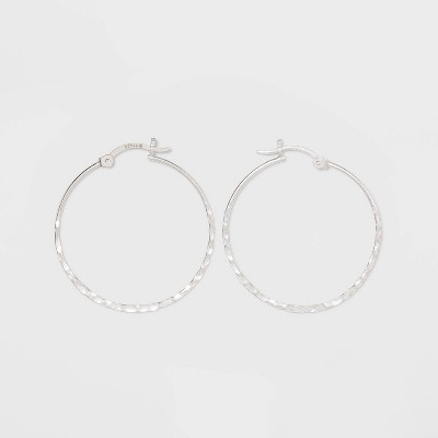 Sterling Silver Hammered Round Click Top Hoop Earrings - Universal Thread™ Silver