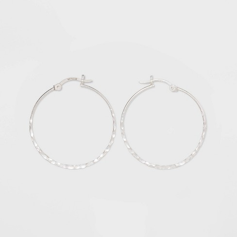Sterling Silver Hammered Round Click Top Hoop Earrings - Universal Thread™ Silver - image 1 of 1