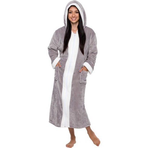 Silver Lilly - Women's Plush Zip Up Sherpa Lined Hooded Robe - image 1 of 4