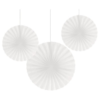 3ct White Paper Fans Hanging Party Decorations