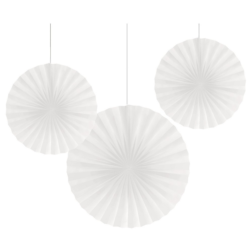 3ct White Paper Fans Hanging Party Decorations, Women's