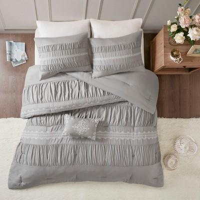5pc Queen Monna Comforter Set Gray