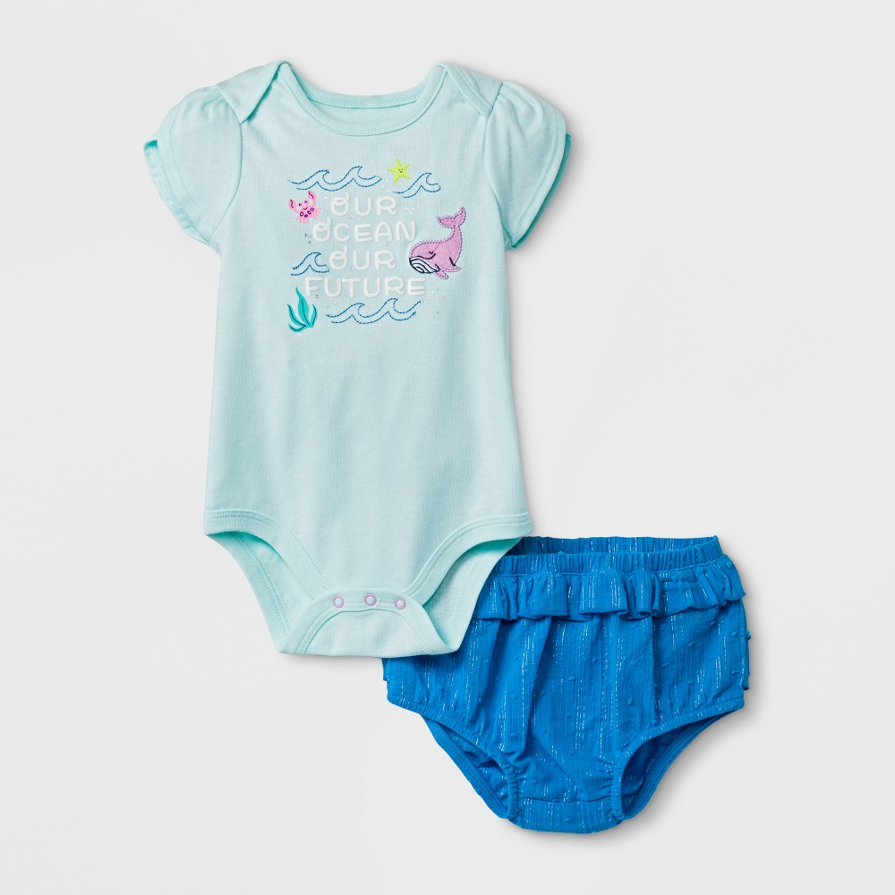 Baby Girls' Bodysuit and Bloomer Set - Cat & Jack Bleached Aqua 12 M, Size: 12M, Green
