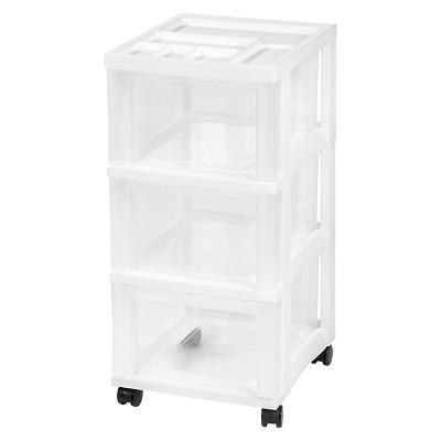 IRIS 3 Drawer Rolling Storage Cart, White