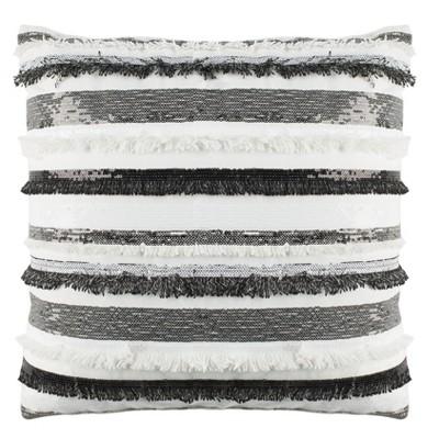 Amalia Striped Square Throw Pillow Gray/Ivory - Safavieh