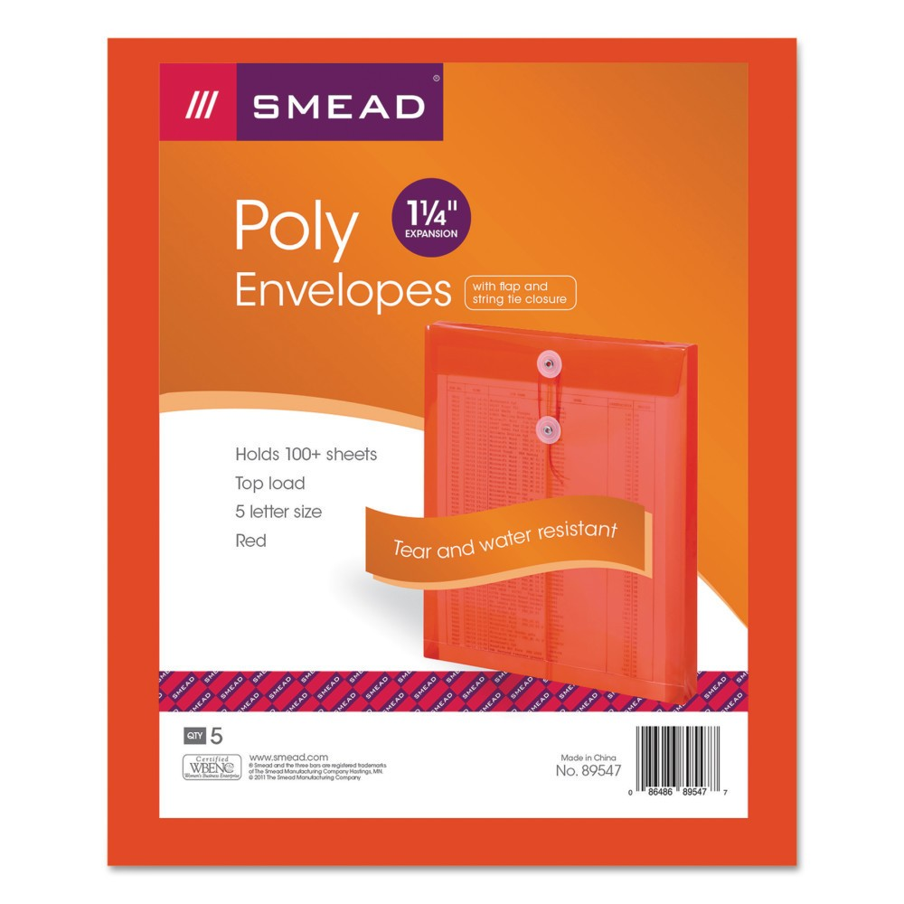 Smead File Folders Poly String & Button Envelope, 9 3/4 x 11 5/8 x 1 1/4, Red, 5/Pack