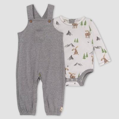 Burt's Bees Baby® Baby Boys' Dotted Jacquard Jumpsuit & on the Range Bodysuit Set - Gray 18M