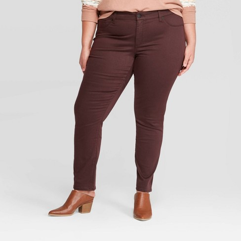 Women's Plus Size Mid-Rise Jeggings - Universal Thread™ Burgundy - image 1 of 3
