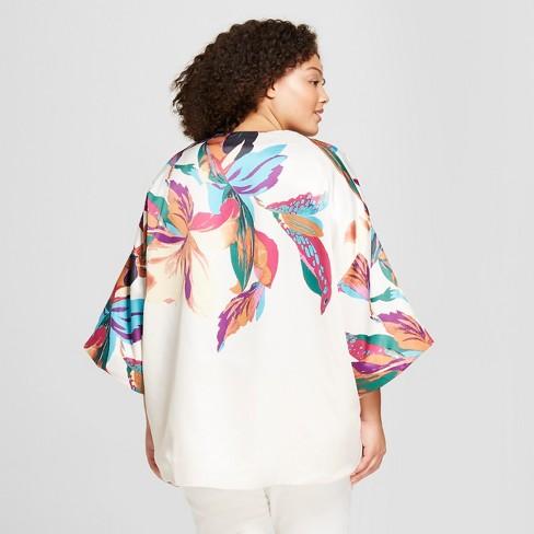 c13230219 Women's Plus Size Floral Print Kimono - A New Day™ Stucco : Target