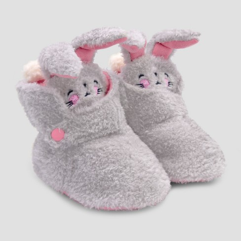 Baby Girls' Bunny Bootie Slippers with Snap - Cat & Jack™ Gray - image 1 of 1