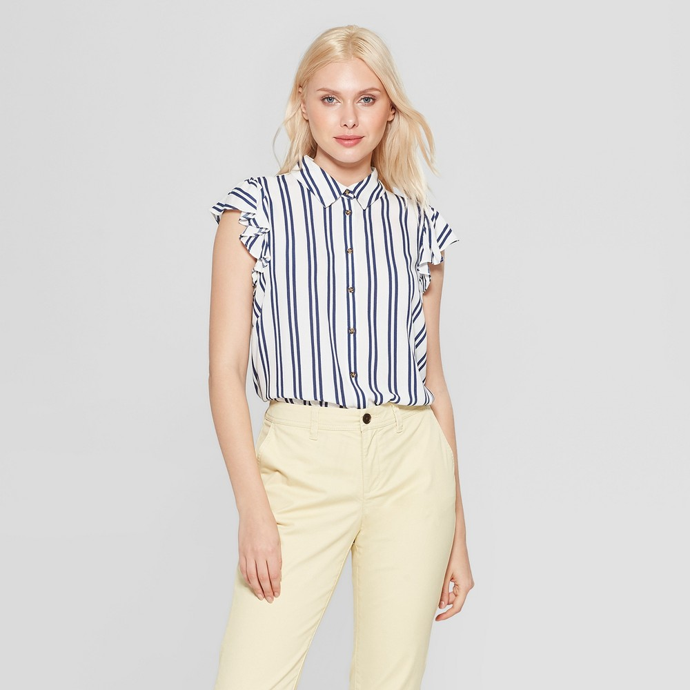 Women's Striped Ruffle Sleeve Button-Up Tank Top - A New Day White/Blue M