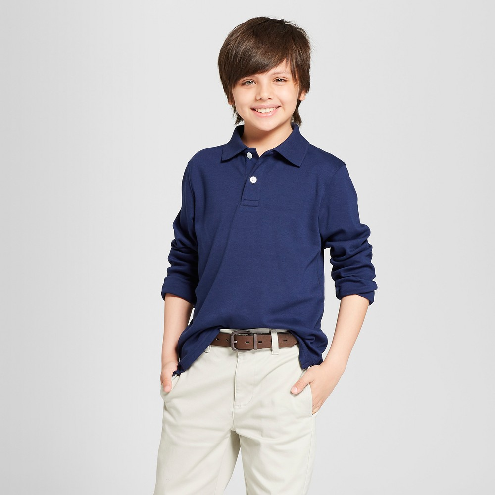 Image of Boys' Long Sleeve Interlock Uniform Polo Shirt - Cat & Jack Navy XS, Boy's, Blue
