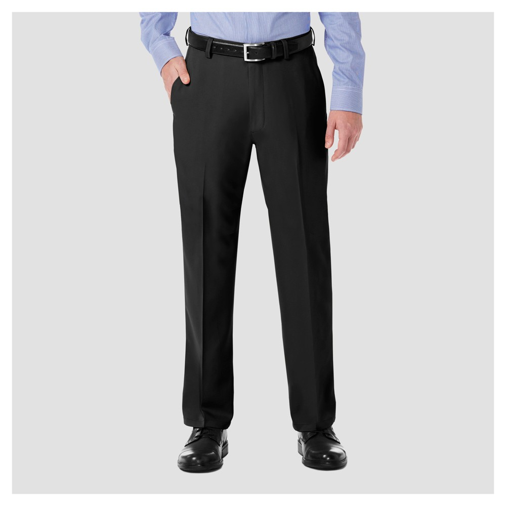 Image of Haggar H26 Men's Big & Tall Performance 4 Way Stretch Classic Fit Trouser Pants - Black 44x30