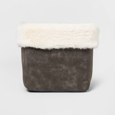 Faux Suede Basket with Fur Trim Gray - Threshold™