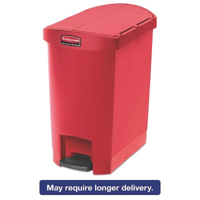Rubbermaid Commercial Slim Jim Resin Step-On Container End Step Style 8 gal Red 1883565