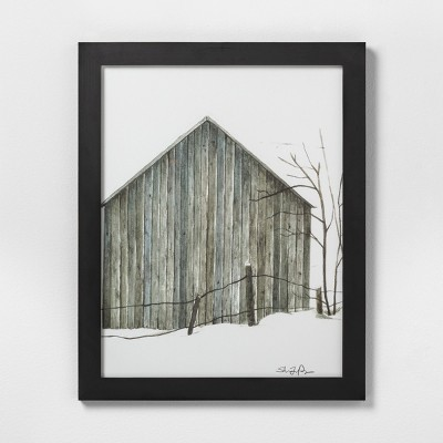 16  X 20  Sketched Barn Wall Art with Black Wood Frame - Hearth & Hand™ with Magnolia