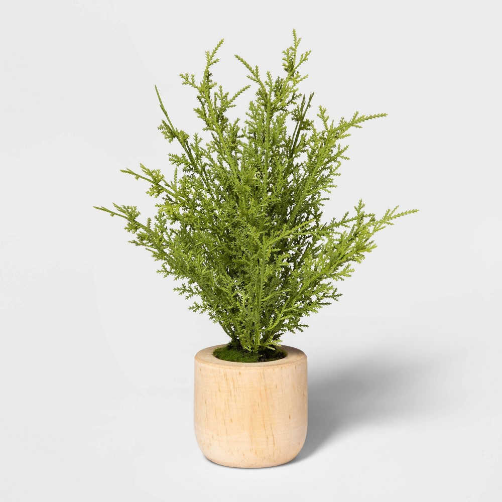 "Image of ""10"""" x 6"""" Artificial Lemon Cypress Arrangement in Wooden Pot Green/Natural - Threshold"""