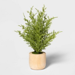 Artificial Lemon Cypress Arrangement in Wooden Pot Green/Natural - Threshold™