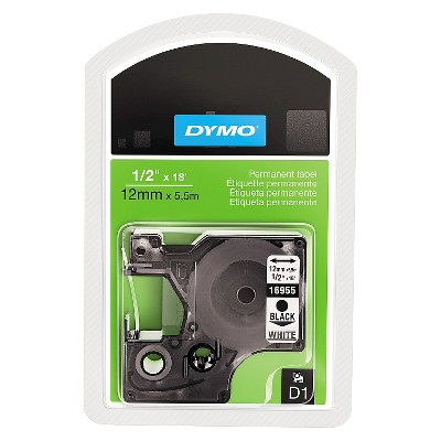 DYMO D1 Permanent High - Performance Polyester Label Tape - 1/2in x 18ft - Black/White