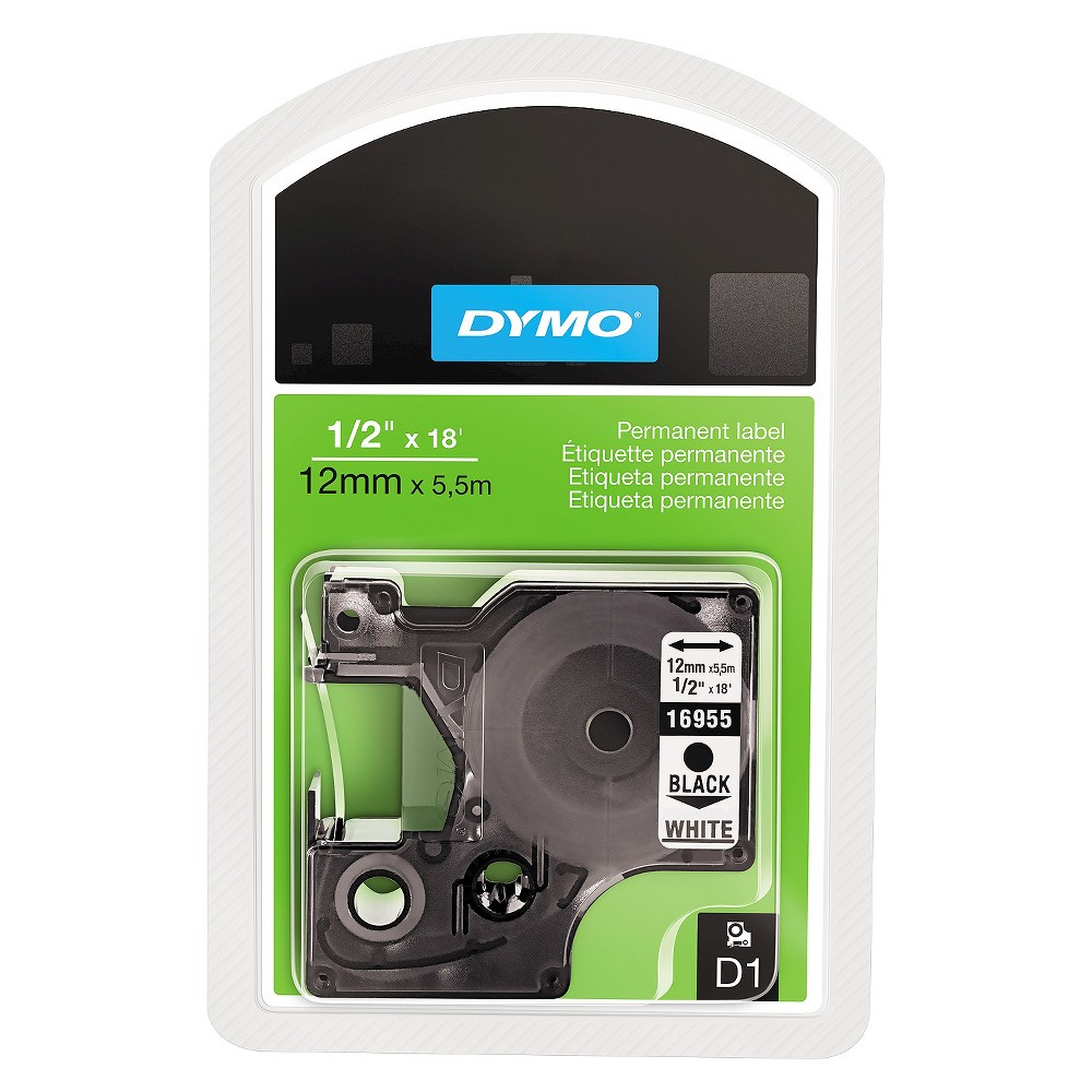 Image of DYMO D1 Permanent High - Performance Polyester Label Tape - 1/2in x 18ft - Black/White