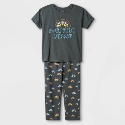 Toddler Boys' 2pc Positive Vibes Short Sleeve T-Shirt & Rainbow Sweatpants Set - art class™ Washed Navy