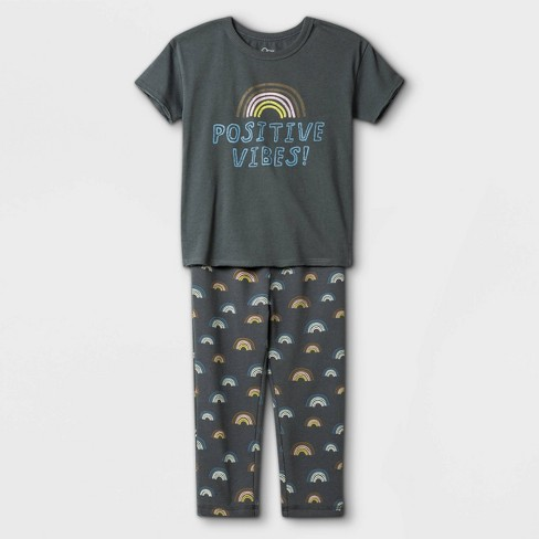 Toddler Boys' 2pc Positive Vibes Short Sleeve T-Shirt & Rainbow Sweatpants Set - art class™ Washed Navy - image 1 of 1