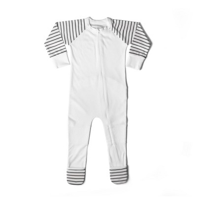 Goumi Baby Classic Striped Footed Pajama with Mittens - White/Black 6-9M