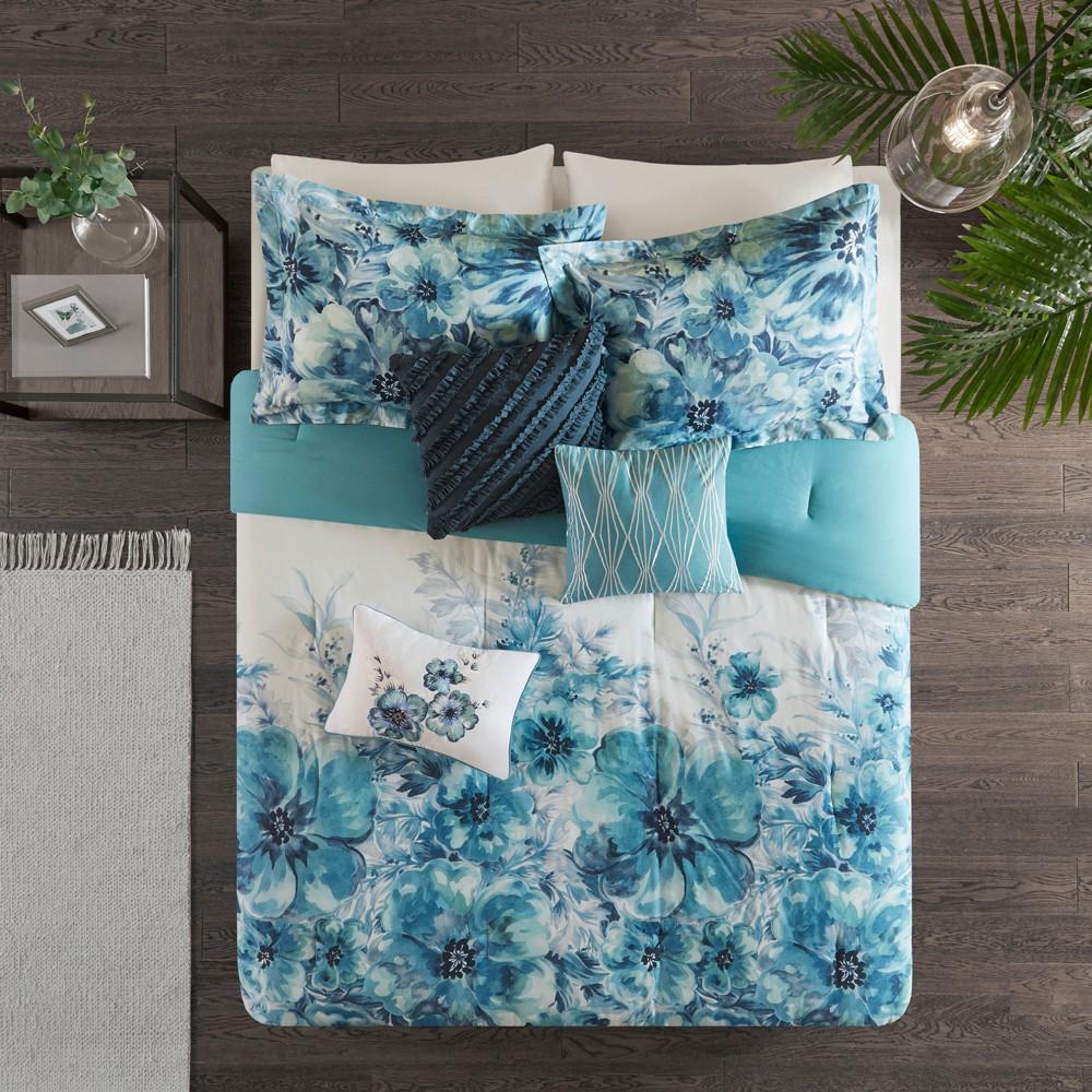 7pc King Slade Cotton Printed Comforter Set Teal (Blue)