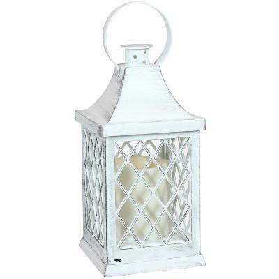 "10"" Ligonier Plastic and Glass Battery Operated Indoor LED Candle Lantern - White - Sunnydaze Decor"
