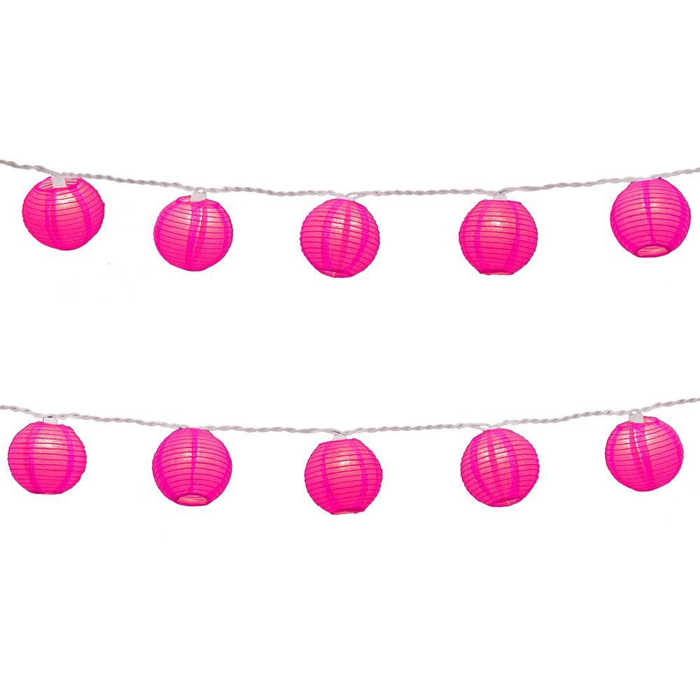 Image of 10ct Lumabase Fuchsia Electric String Light with 3 x 5' Nylon Lanterns, Pink