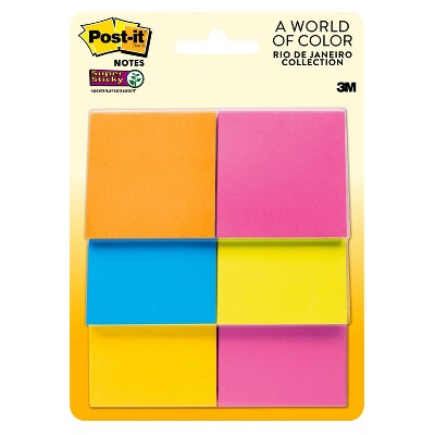 Post It Super Sticky Notes, 2 In X 2 In, 6 Pads/Pack, 45 Sheets/Pad by It Super Sticky Notes, 2 In X 2 In, 6 Pads/Pack, 45 Sheets/Pad