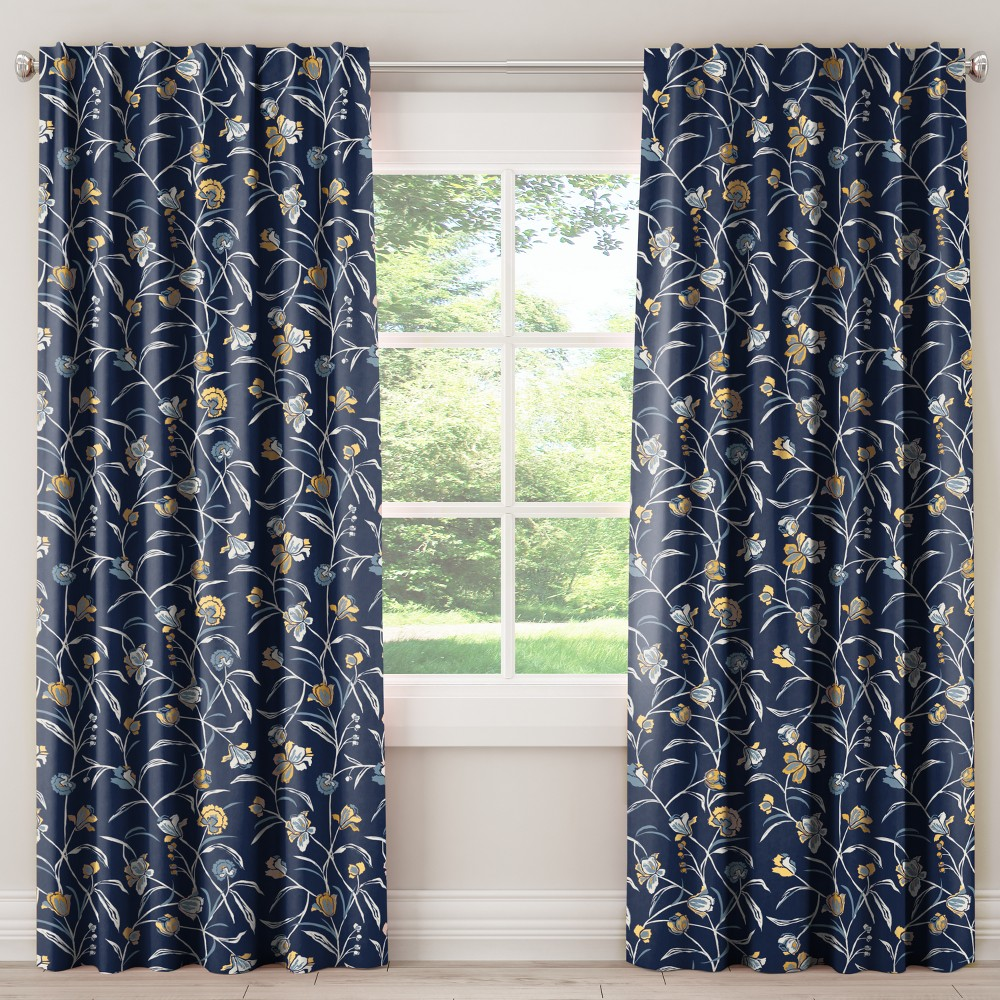 Unlined Curtains Whisp Floral Navy Ochre 84L - Skyline Furniture, Blue