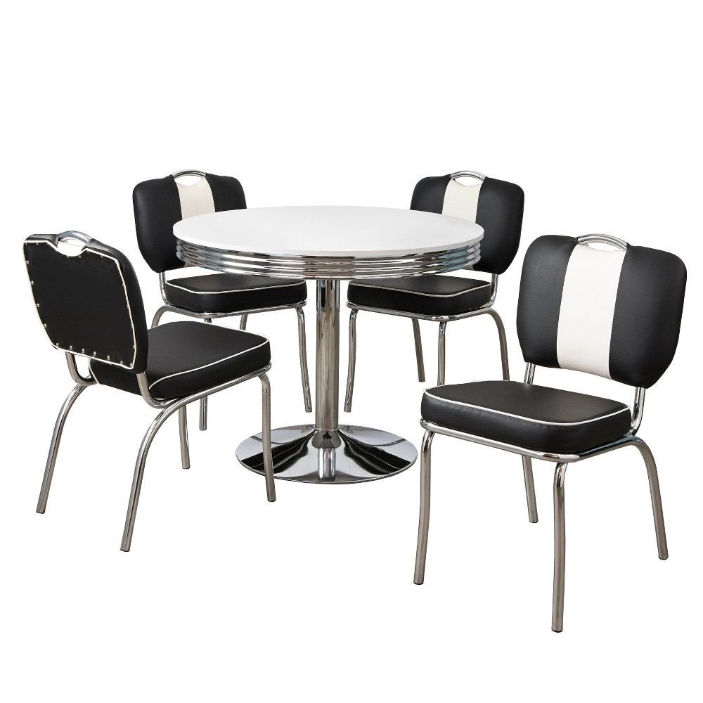 5pc Raleigh Retro Dining Set White/Black - Buylateral