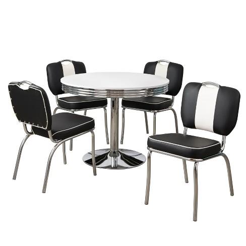 5pc Raleigh Retro Dining Set White Black Buylateral Target