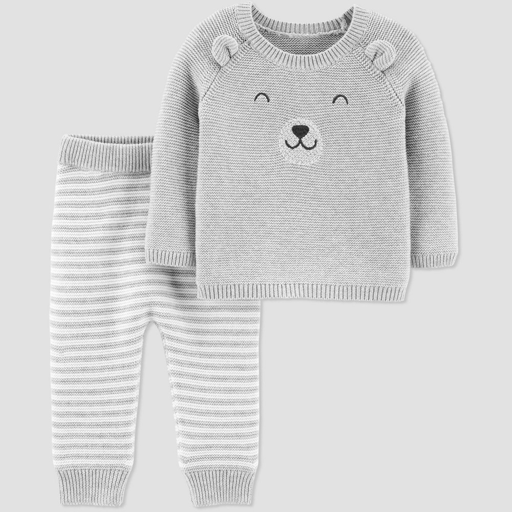 Image of Baby Boys' 2pc Bear Top & Bottom Set - Just One You made by carter's Gray 12M, Boy's