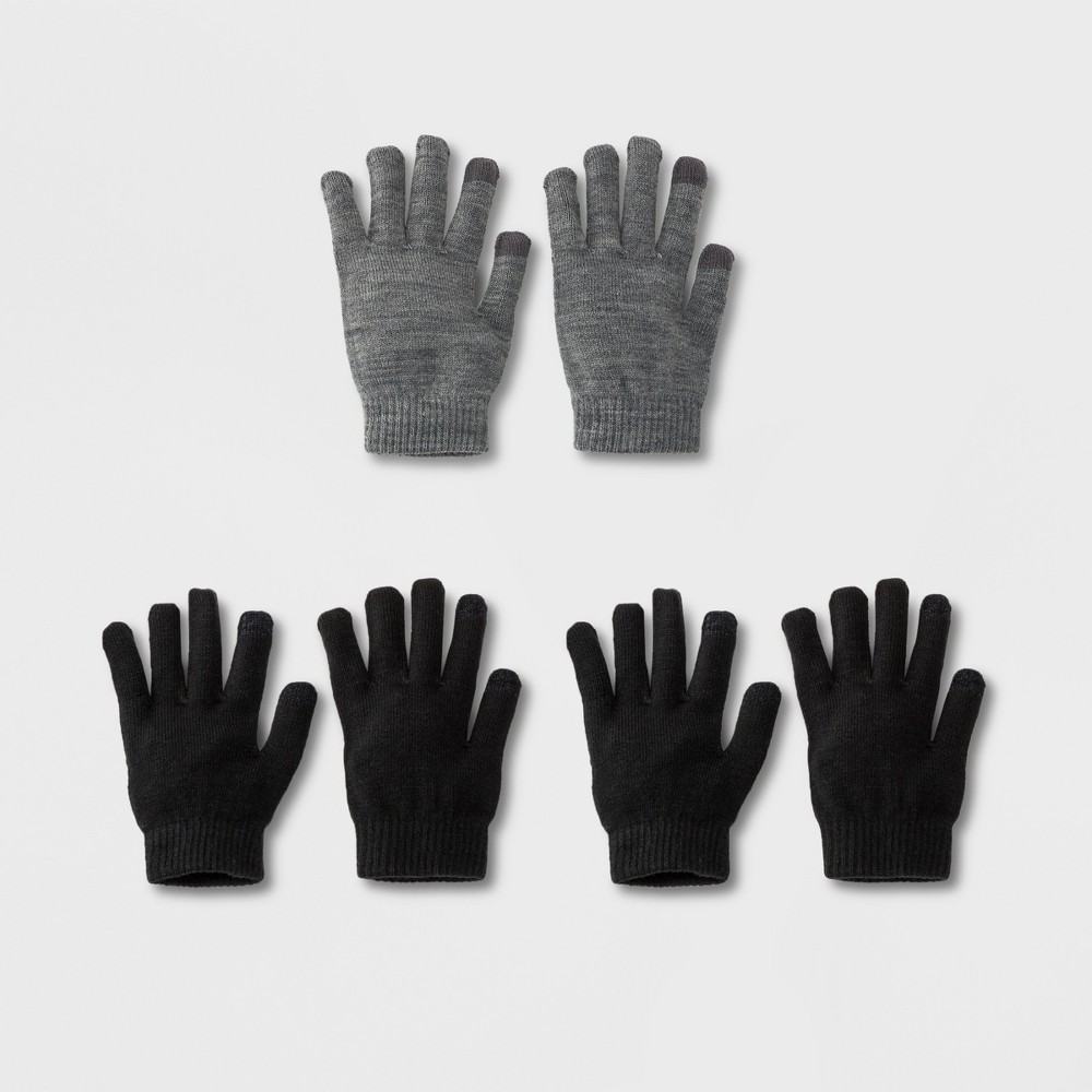 Women's 3pk Tech Touch Gloves - Wild Fable Dark Gray Heather, Ps Dark Grey Heather