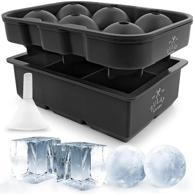 Zulay Kitchen Silicone Large Ice Cube and Ice Ball Mold For Cocktails Whiskey Bourbon Scotch & More (Set of 2)