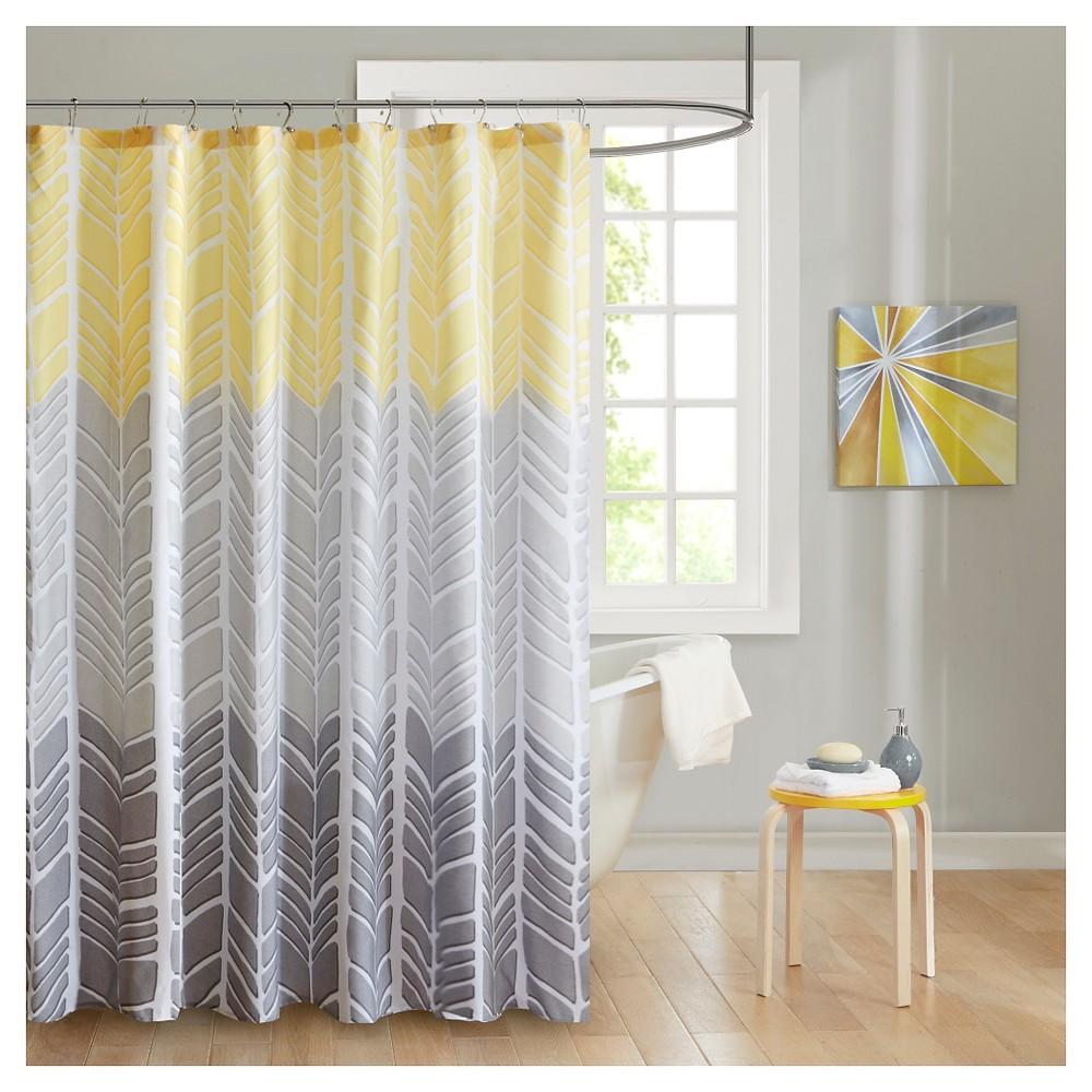 Image of Amanda Herringbone Shower Curtain Yellow