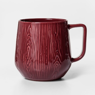 16oz Stoneware Wood Grain Mug Red - Project 62™