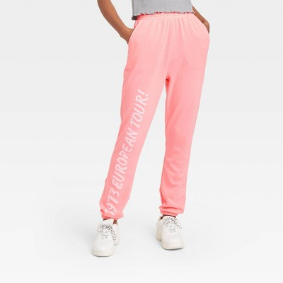 Women's The Rolling Stones Lips Graphic Jogger Pants - Pink