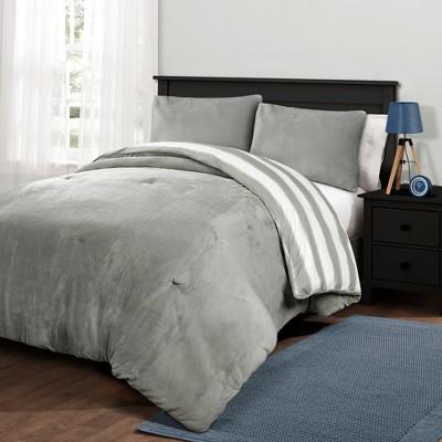 Plush Stripe Comforter Set Gray - Lush Décor