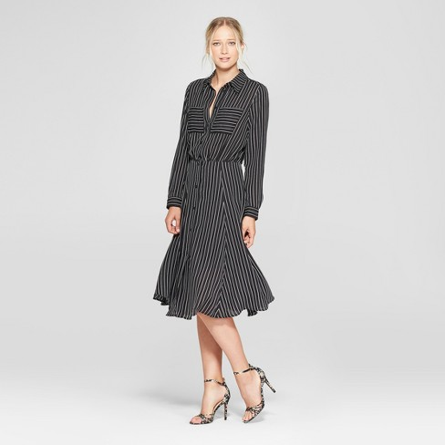Womens Striped Convertible Sleeve Midi Shirt Dress Who What Wear