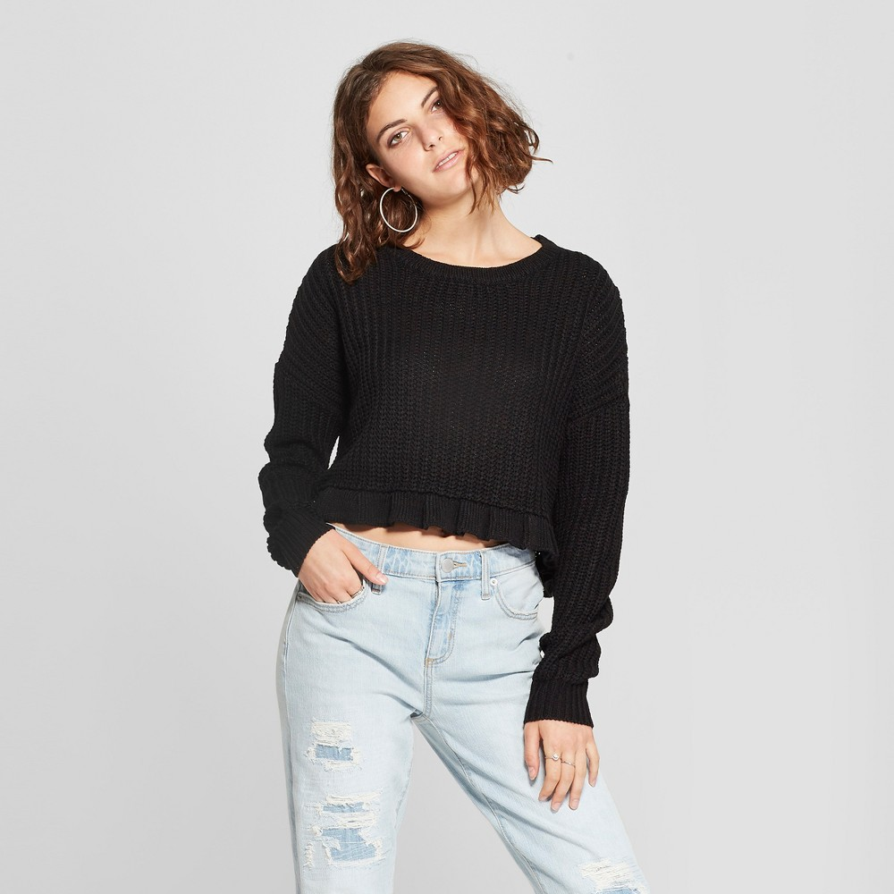 Women's Long Sleeve Ruffle Hem Crop Sweater - Love @ First Sight (Juniors') Black L