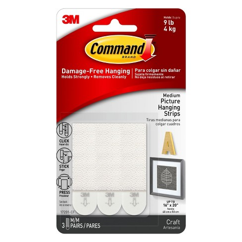 Command Strips 3ct Medium Picture Hanging Strips Target