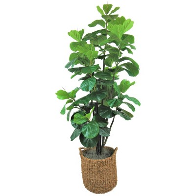 6' Artificial Fiddle Leaf Fig Tree in Basket with Handles - LCG Florals