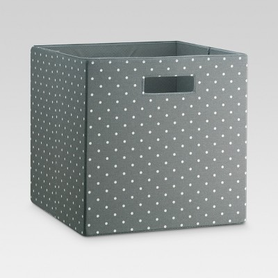 Fabric Cube Storage Bin Gray/White Polka Dot 13  - Threshold™