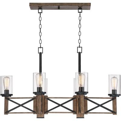 "Franklin Iron Works Wood Grain Linear Island Pendant Chandelier 40"" Wide Rustic Farmhouse Clear Glass 6-Light Fixture for Kitchen"